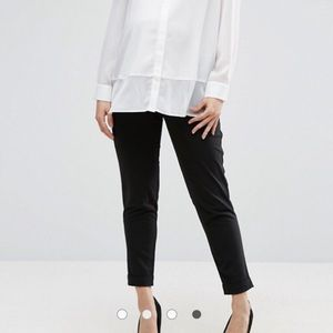 Black Maternity Work Ankle Trousers